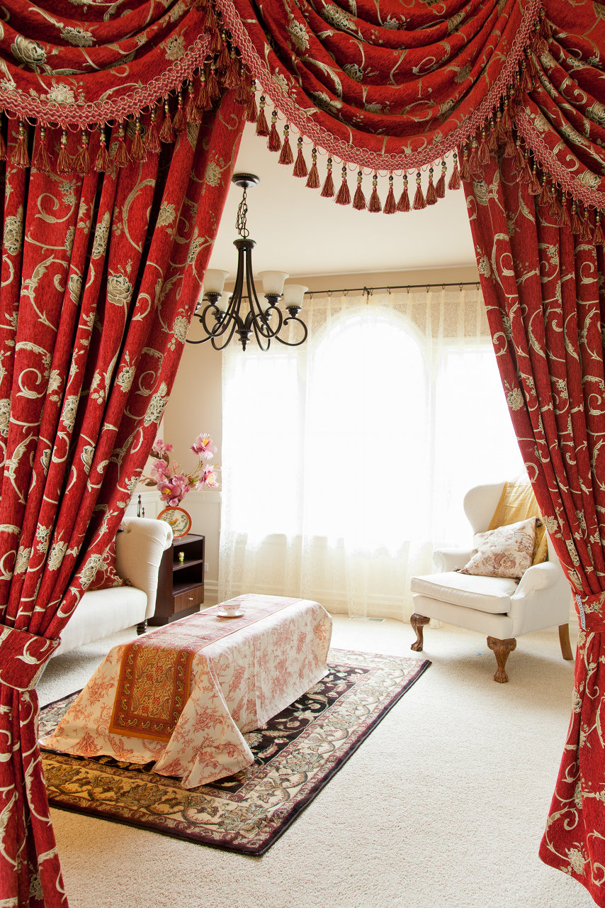 louis xvi royal red swag valances curtain drapes. Black Bedroom Furniture Sets. Home Design Ideas