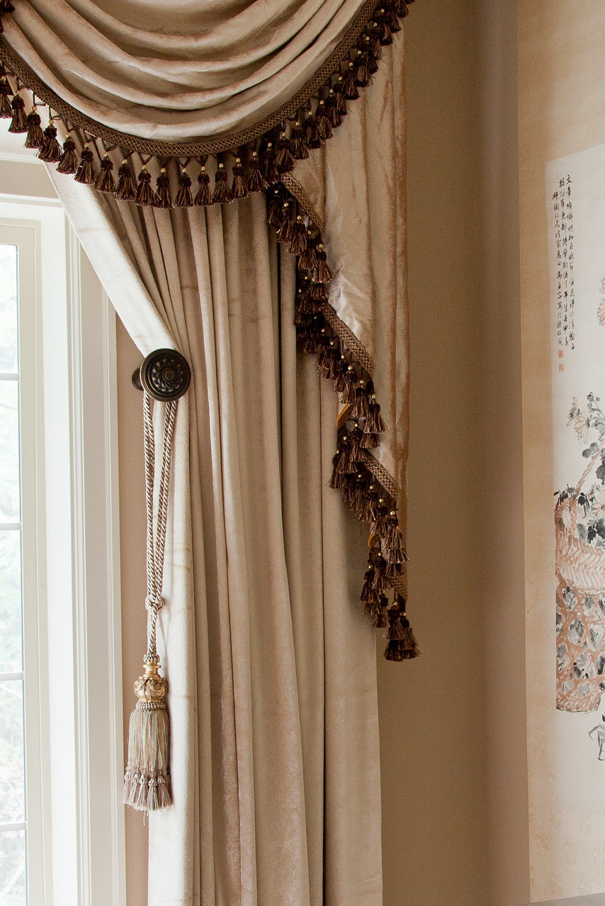 Pearl Dahlia Swags And Tails Valance Curtain Set