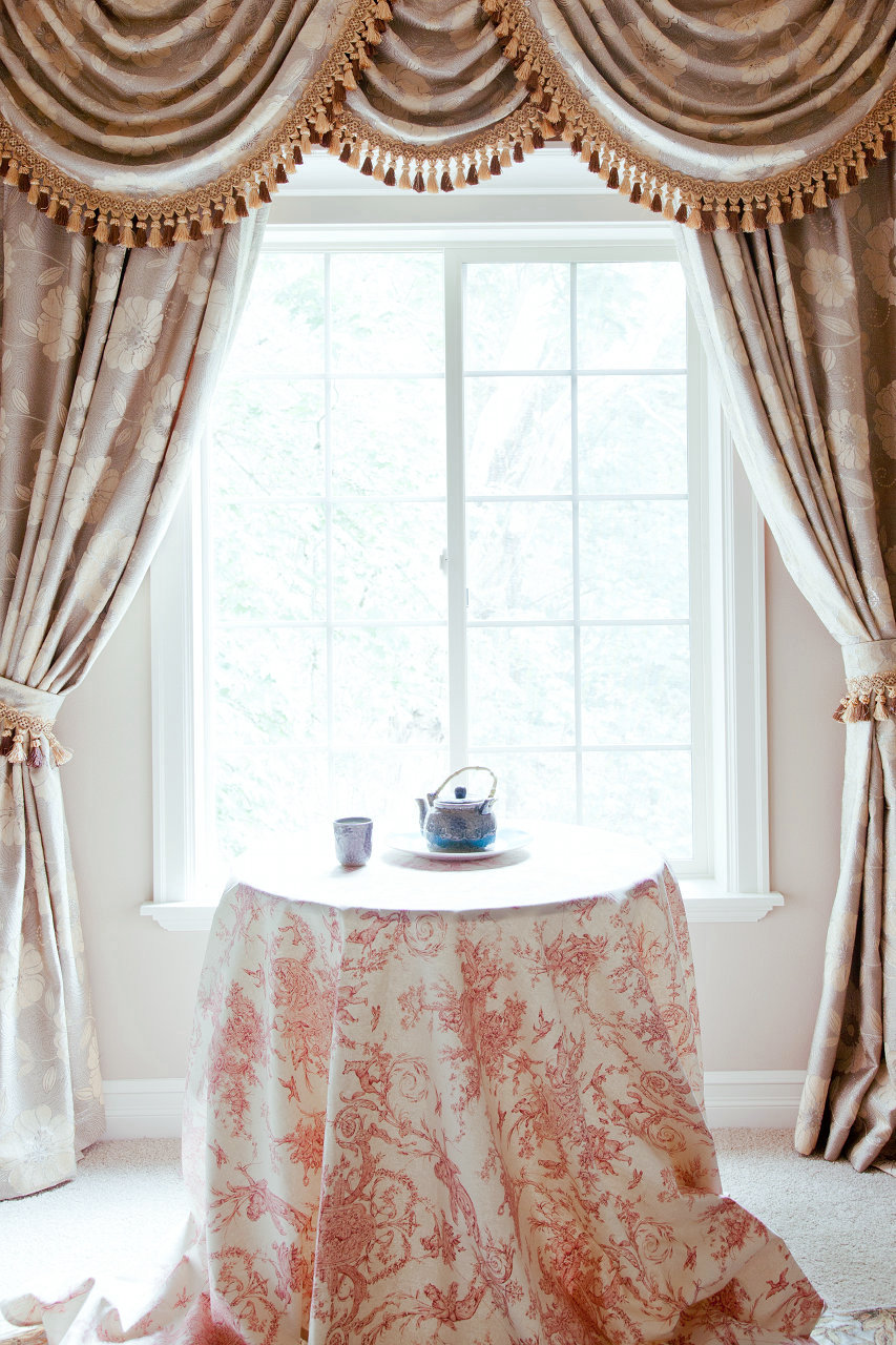 Pink camellia swags and tails valance curtain drapes for Curtains and drapes