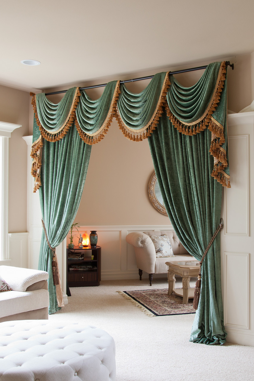 Living Room Curtain Sets : Green Chenille swag valance draperies