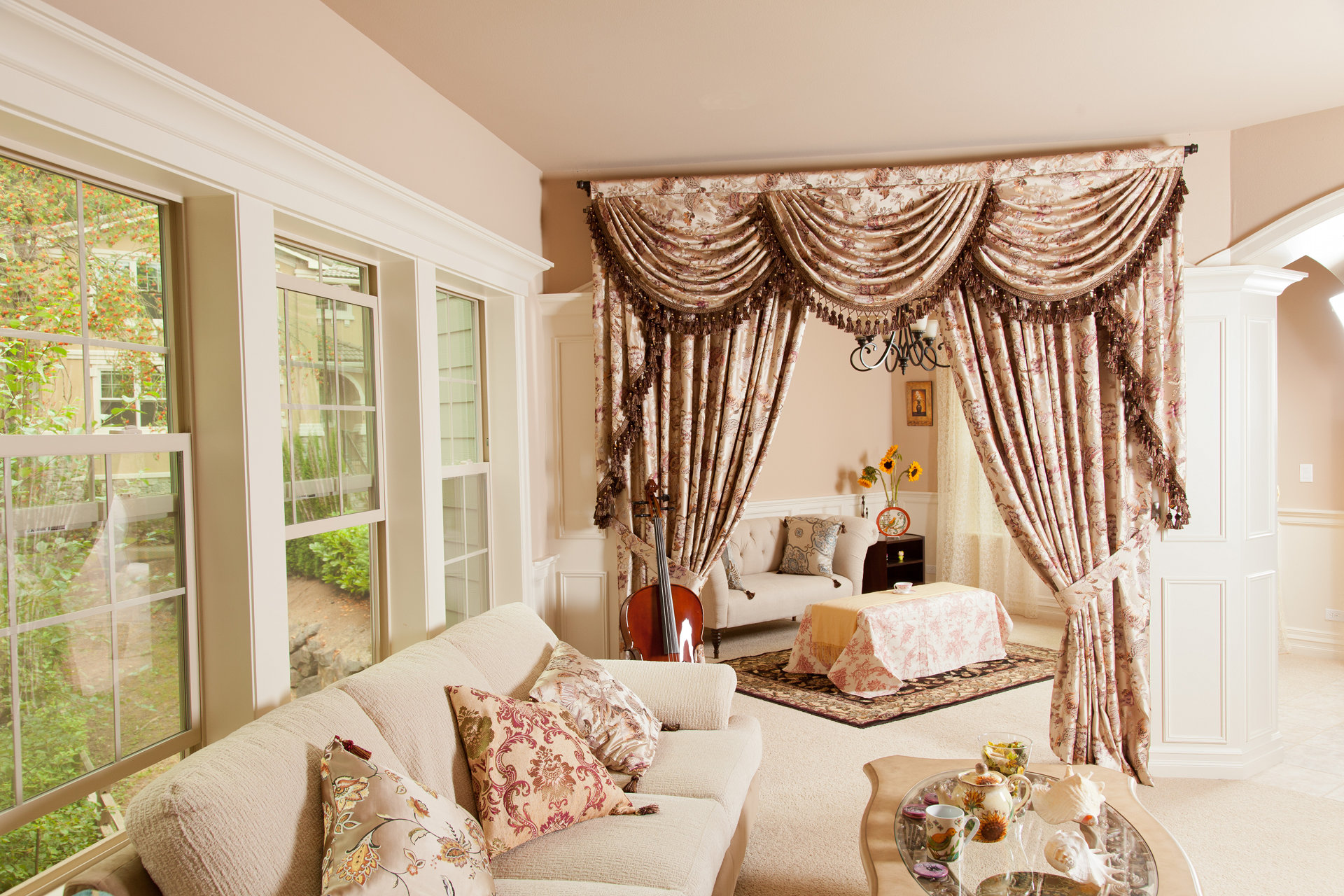 oriental tree of life swag and tails valance curtain drapes. Black Bedroom Furniture Sets. Home Design Ideas