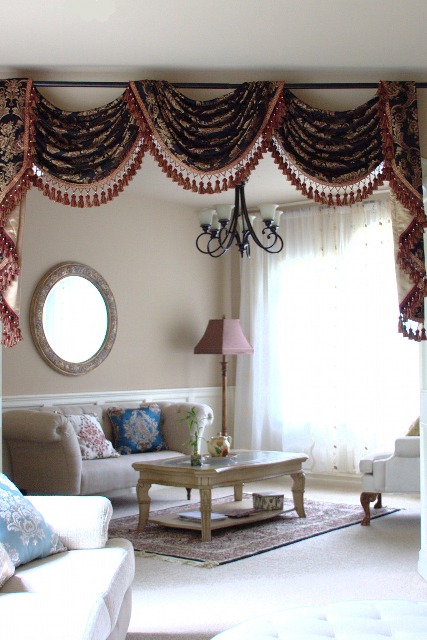 Drapery And Curtain Ideas: Royal Black Pole Swag Valances Curtain Draperies