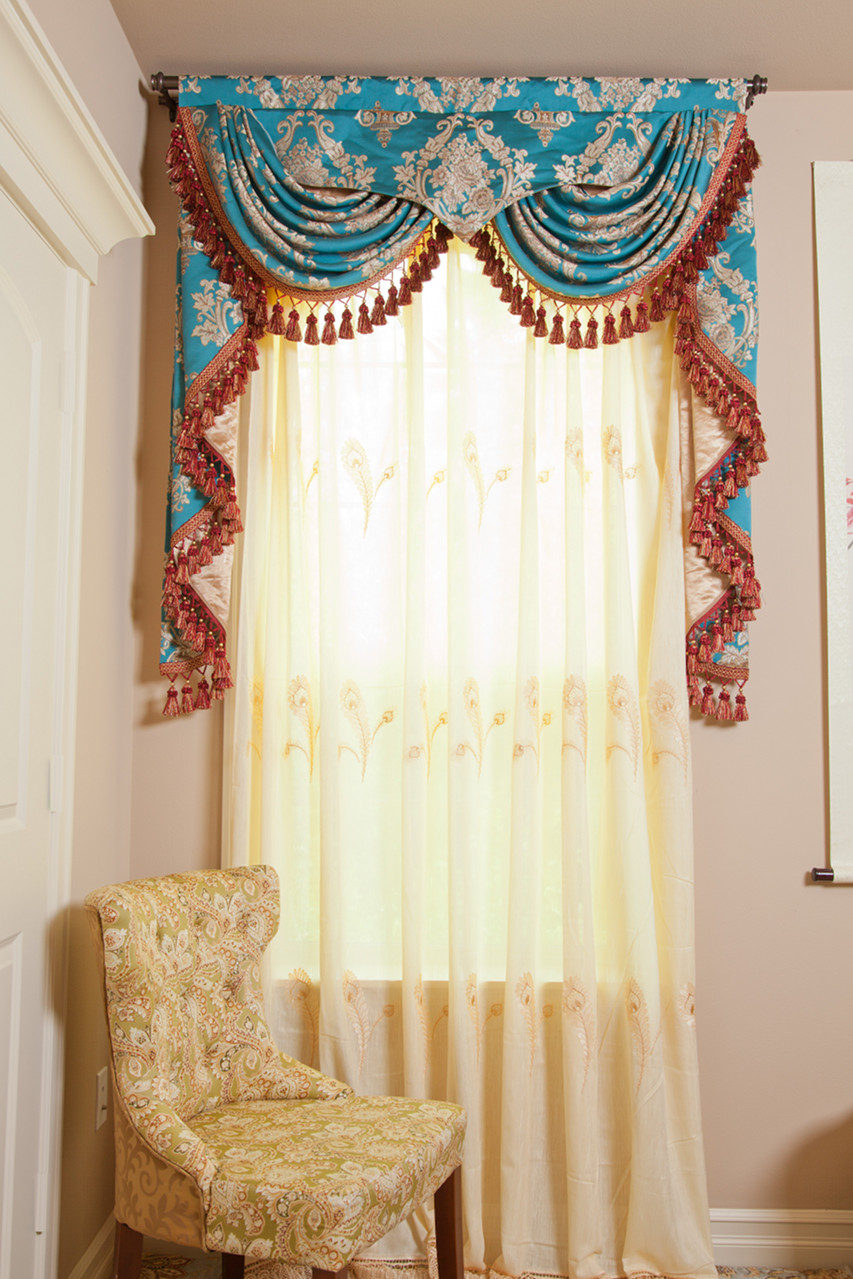 Fabric curtain window screening peacock feather chenille embroidery ...