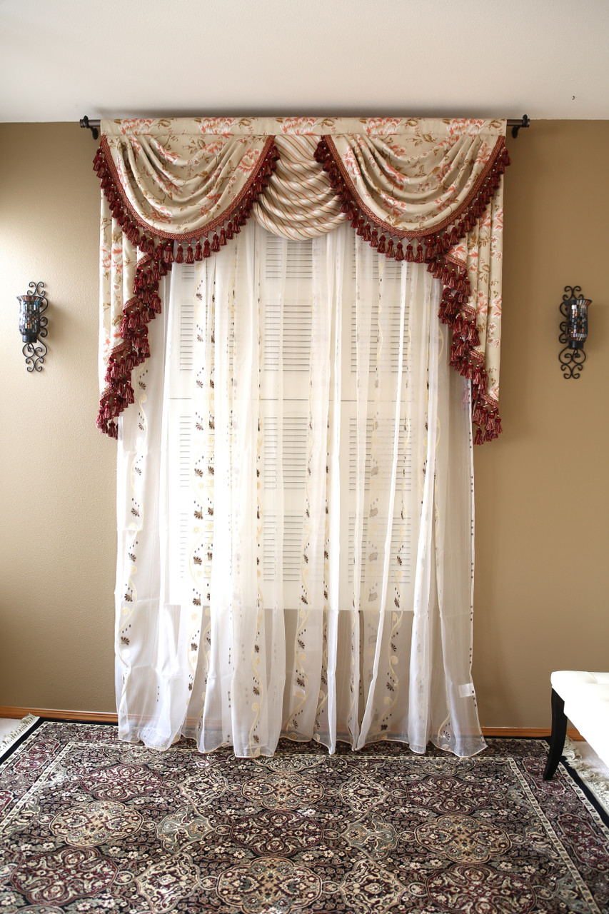 debutante overlapping swag and tail valance curtains. Black Bedroom Furniture Sets. Home Design Ideas