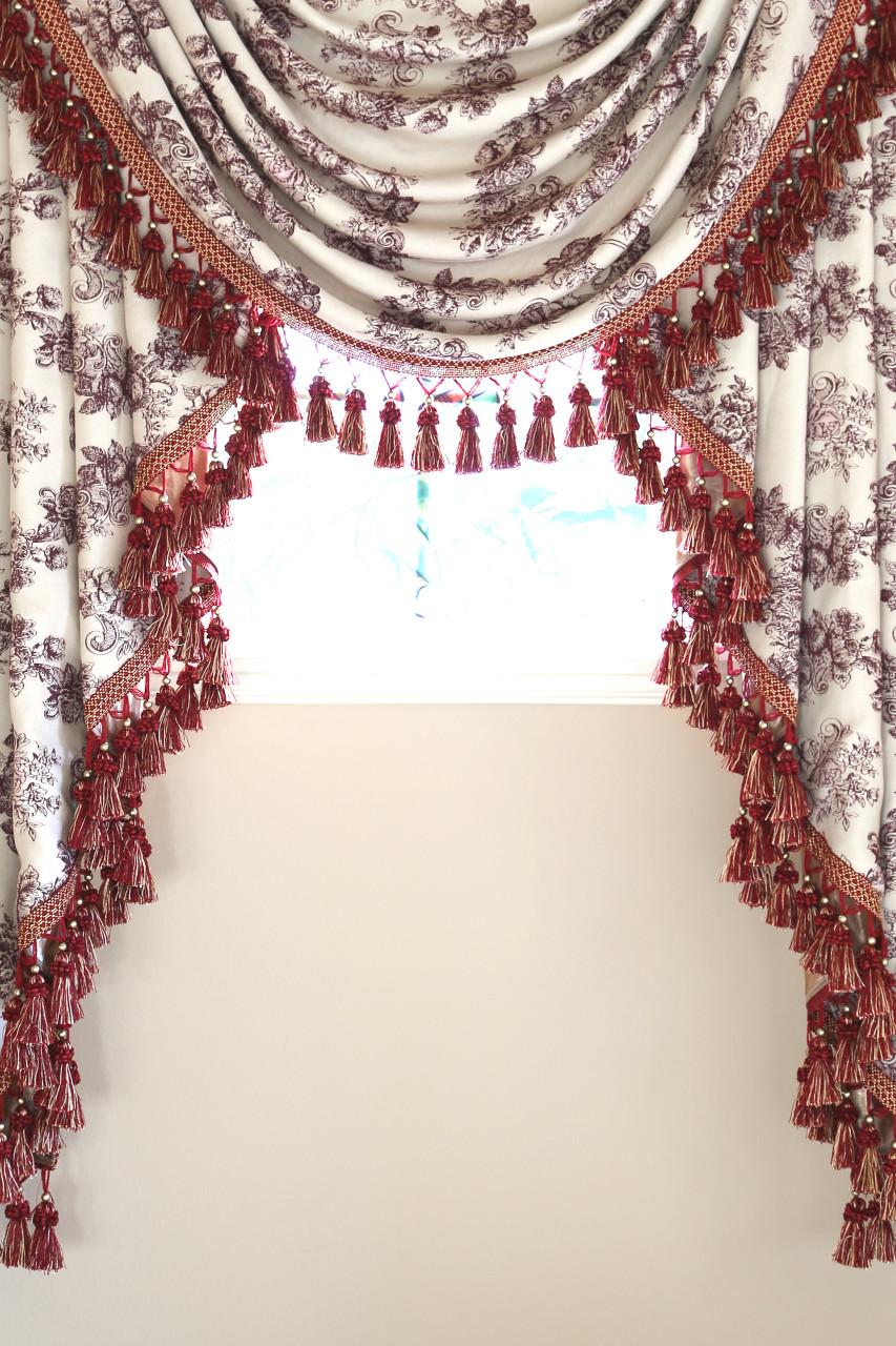 Toile De Fleur Swag Valance Curtains