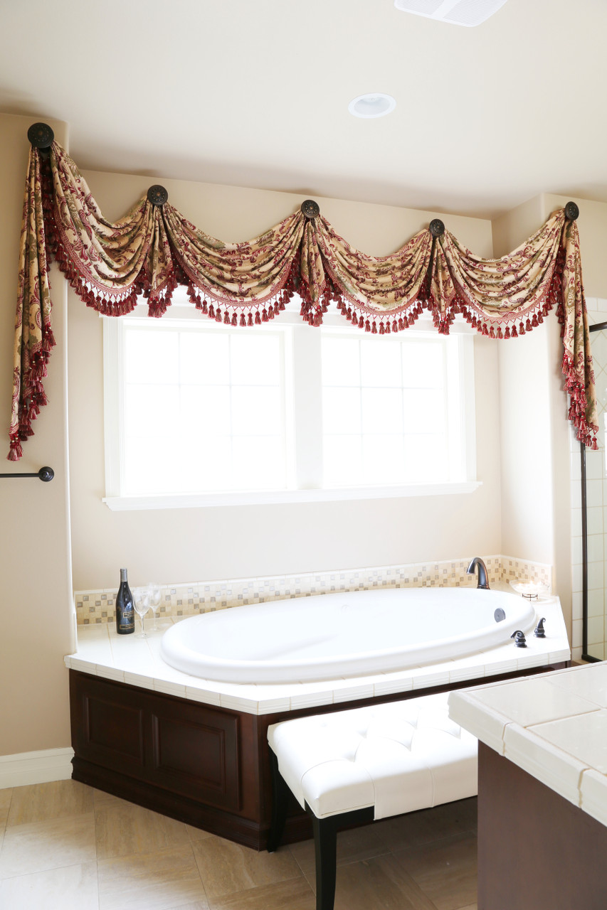 Rosy Queen Swags Over Rosette Valance Curtain Drapes
