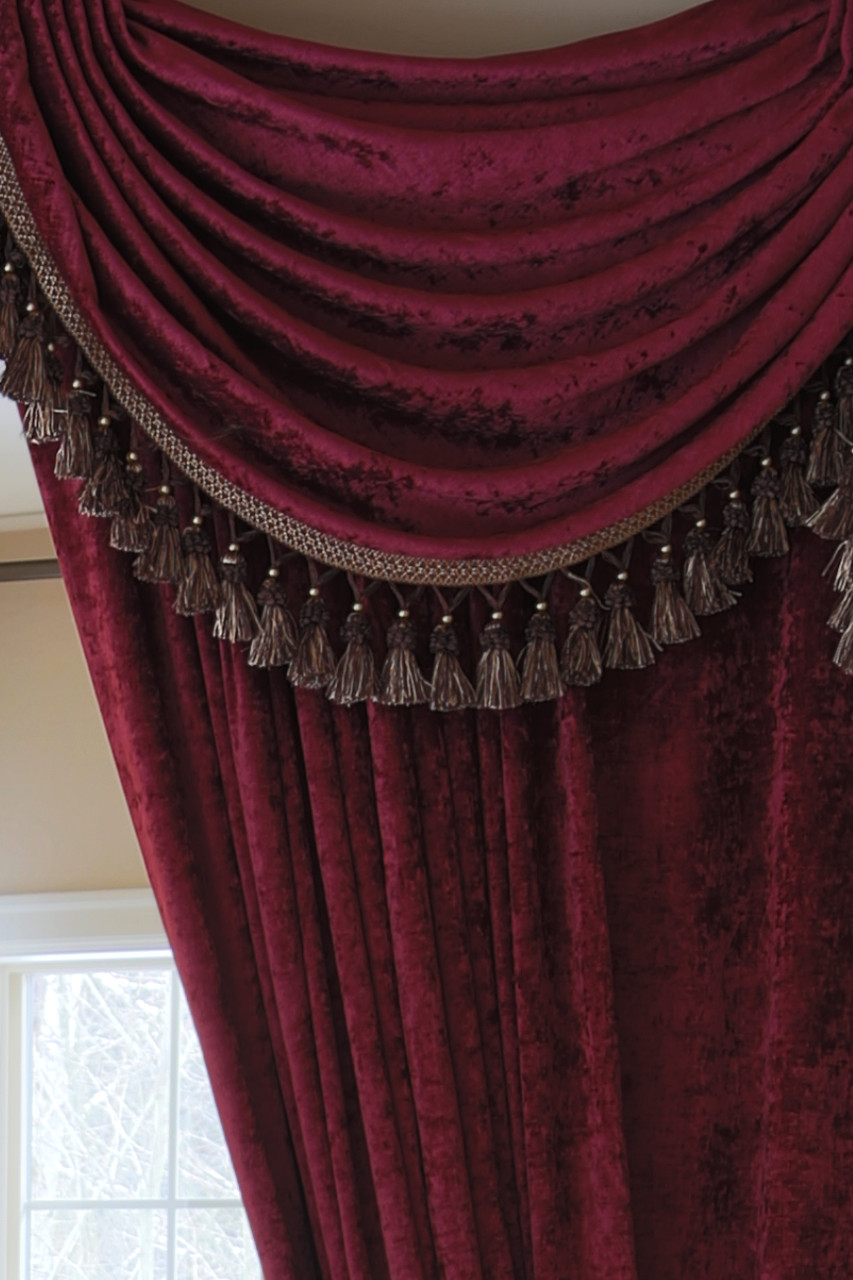 Burgundy chenille flip pole swag valance draperies for Celuce curtains
