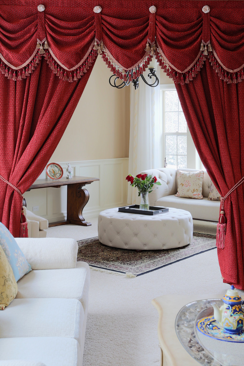 Red Chenille Austrian Diamond Swags And Valances Curtains