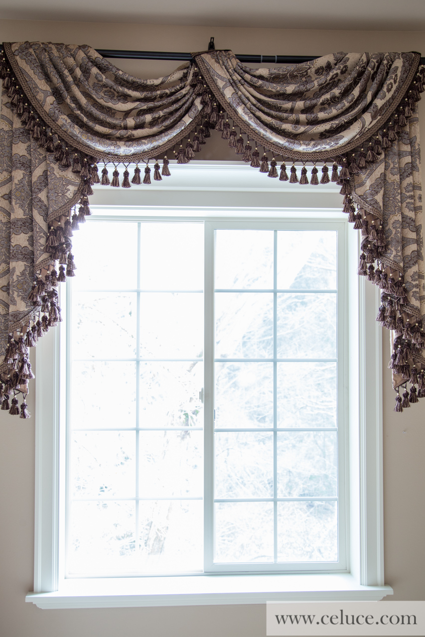 Queen spades pole swag valance curtains for Celuce curtains